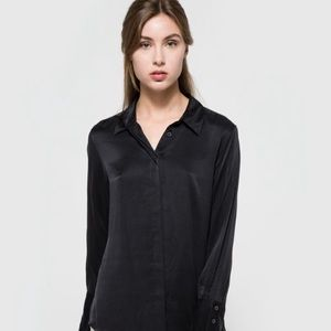 FRAME DENIM Black Noir 100% Silk Button Up Blouse
